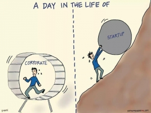 Day in the life of corporate vs startup